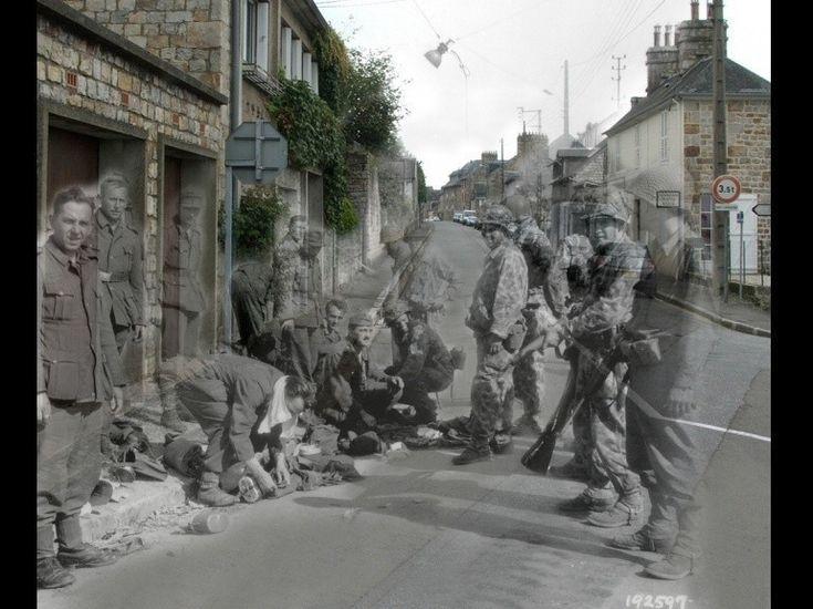 Des soldats allemands se rendent à Domfront, dans l'Orne. Les Fantômes de la Seconde Guerre mondiale.