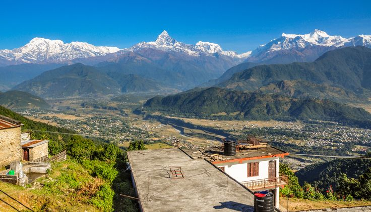 Mt. Annapurna range and Pokhara valley from Sarangkot, Pokhara, Nepal.