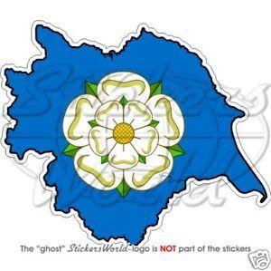 YORKSHIRE-Map-Flag-White-Rose-of-York-UK-Bumper-Sticker