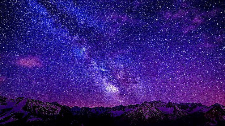 Sky Purple Atmosphere Galaxy Night Starry Night Starry Sky Hd Wallpaper In 2020 Night Sky Wallpaper Starry Sky Starry Night