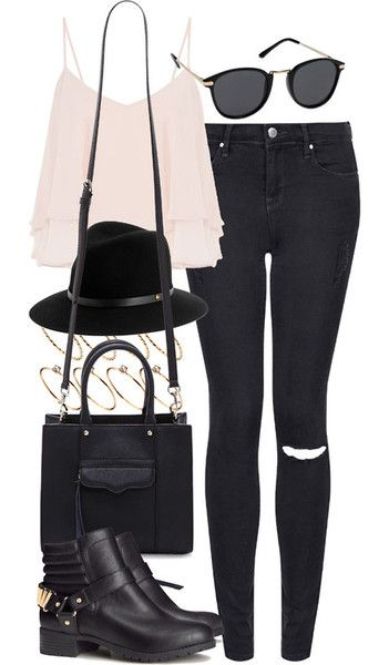 outfit for going to the cinema by im-emma featuring short boots     Topshop skinny jeans, $64 / Cameo Rose light pink cami, $17 / H&M short boots, $59 / Rebecca Minkoff leather tote / ASOS round ring / Rag Bone black fedora / Mink Pink black sunglasses, $47