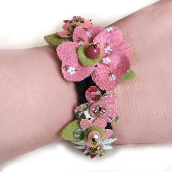 Pink Flower Bracelet Fabric Flowers Floral by CraftyJoDesigns