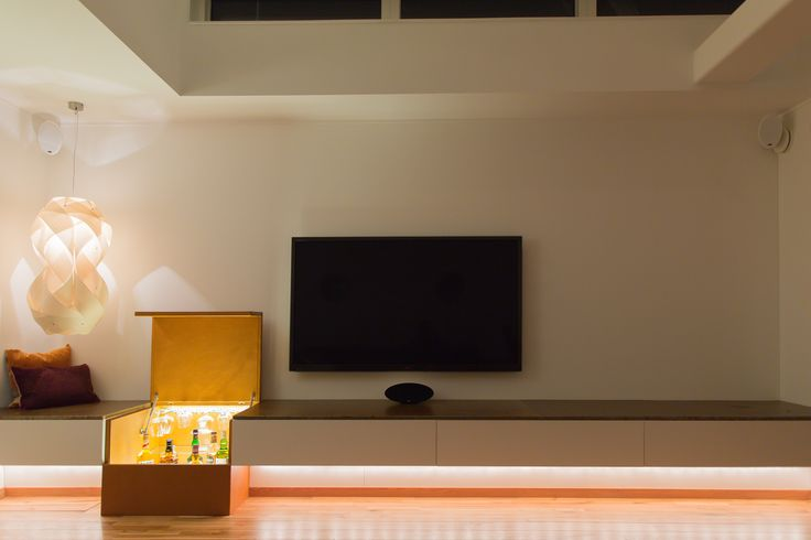 TV bench and bar box in leather