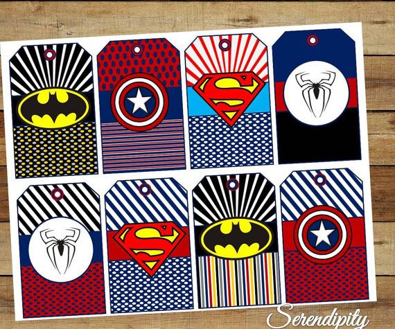 INSTANT DOWNLOAD Superhero Favor tags, party printables with Assortment of Superhero Character Logos