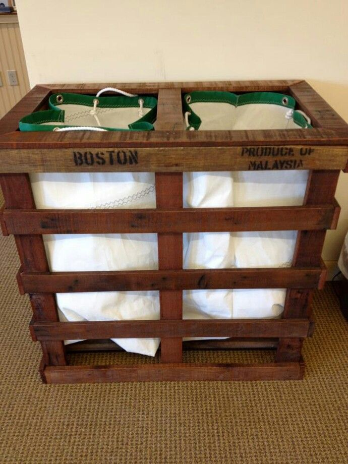 Pallet laundry bin or garbage/recycle bins