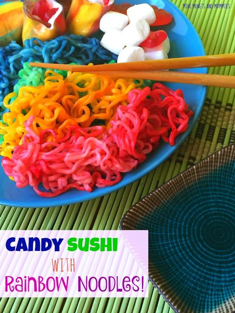 Swedish fish candy sushi with rainbow ramen noodles. It's an easy recipe to try with the kids for a holiday treat or any day!