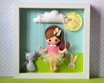 Baby Decorative Frame Personalised Felt box by IgolkinaHandMade
