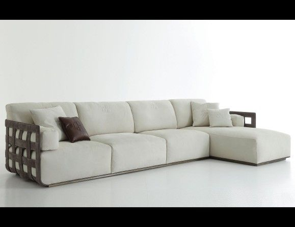 Nella Vetrina Rugiano Braid 6082 362 White Sofa Upholstered In Leather