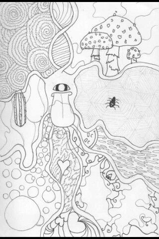 love this  coloring pages trippy trippy mushrooms