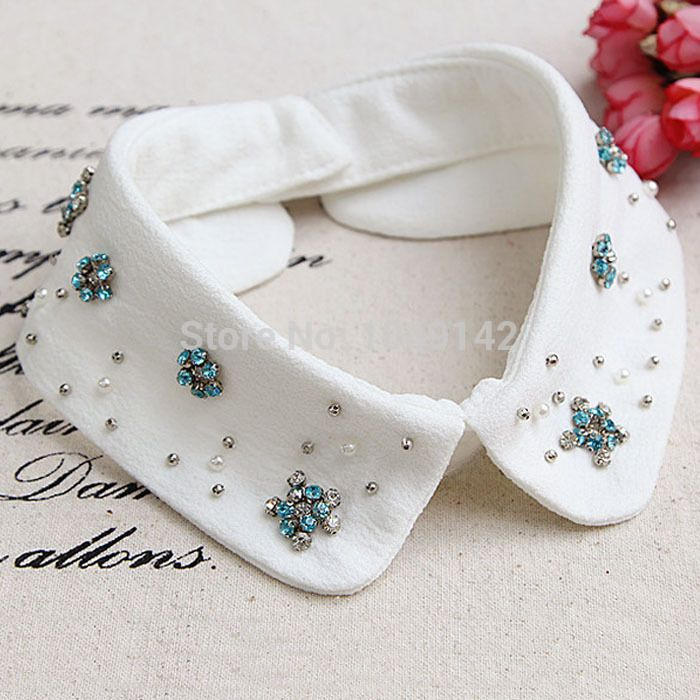 Barato Acessórios de vestuário falso colarinho falso colares para mulheres colar decorativo strass frisado destacável, Compro Qualidade Gravatas e Lenços diretamente de fornecedores da China:                         Fashion classical white cotton peter pan false collar for women dress/sweate