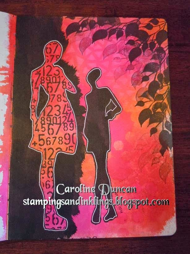 art journal page by Caroline Duncan ~ www.stampingsandinklings.blogspot.com Dylusions