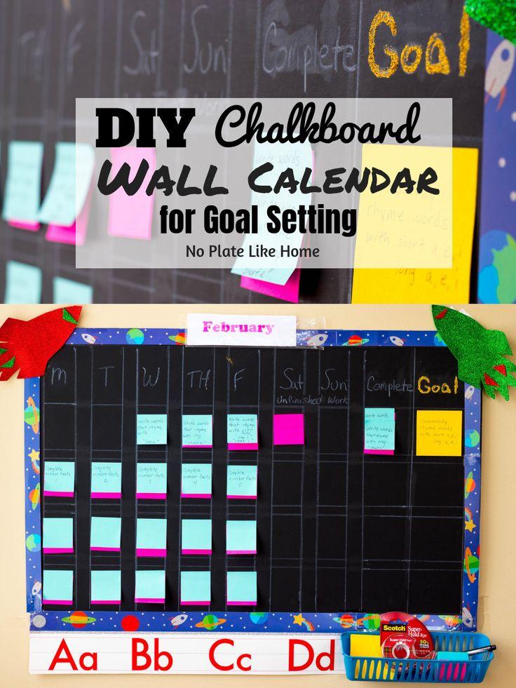 Diy chalkboard wall calendar for goal setting chalkboard