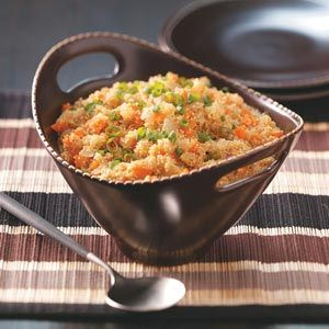 Quinoa Pilaf Recipe. Ingredients  1 medium onion, chopped  1 medium carrot, finely chopped  1 teaspoon olive oil  1 garlic clove, minced  1 can (14-1/2 ounces) reduced-sodium chicken broth or vegetable broth  1/4 cup water  1/4 teaspoon salt  1 cup quinoa, rinsed