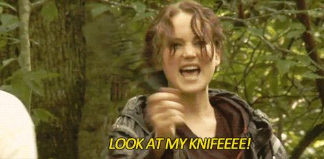 "And when she got this knife taken away from her for playing with the props. | 24 Times The Cast Of ""The Hunger Games"" Broke Character"