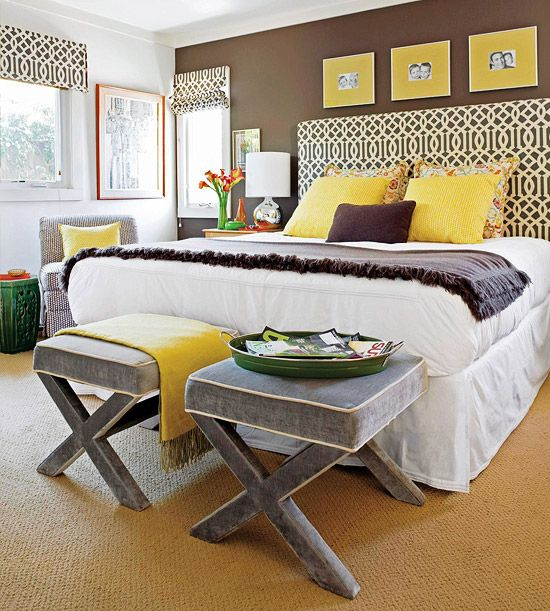 Love the brown accent wall for warmth combined with surrounding white walls and bedding for a clean, crisp feel.  Dashes of gray and yellow add warmth and sunshine.  Just the right amount of pattern.