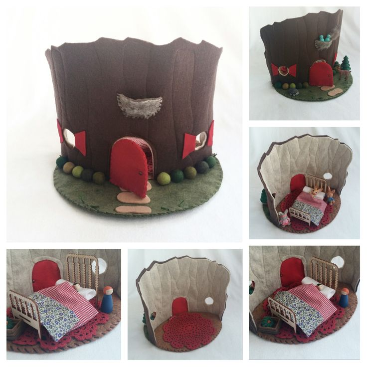 Red Door Tree Stump Cottage Playscape Play Mat felt pretend play open-ended storytelling fantasy woodland fairytale Dollhouse fairy house by MyBigWorld2015 on Etsy