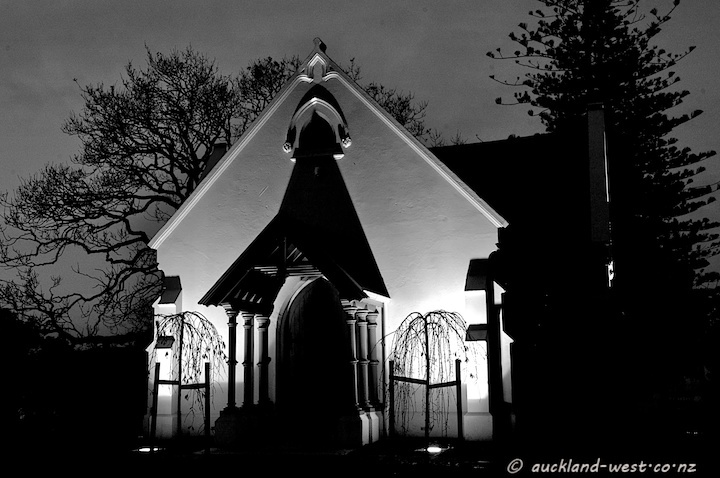 This chapel marks a corner of Waikumete cemetery, along Glenview Road, Glen Eden. It had fallen into disrepair and was fenced off for a considerable time, but eventually funds became available for a restoration. The refurbished chapel was re-opened on October 5, 2010. Here we see it in its night-time illumination.