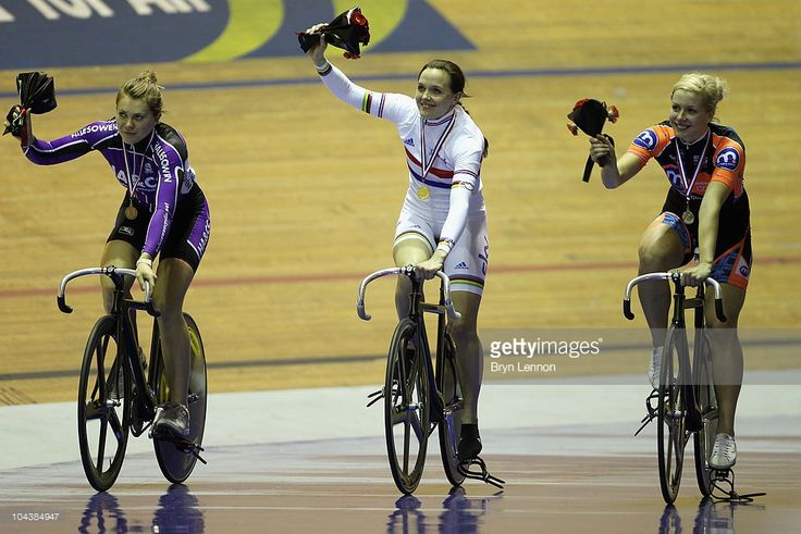 Jess Varnish (3rd), Victoria Pendleton (1st) of Great Britain and SKY Track Cycling and Rebecca James (2nd) ride a lap of honour after the Women's Sprint Championship at the British National Track Cycling Championships at Manchester Velodrome on September 23, 2010 in Manchester, England.