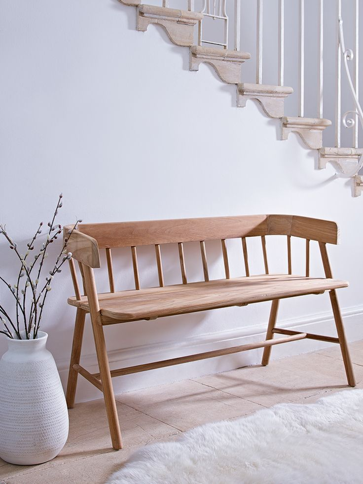 Beautifully Handcrafted From Reclaimed Teak Wood, Our Handcrafted Wooden  Bench Has A Simple Spindle Back And A Deep Seat For Added Comfort.