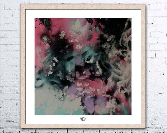 Art Print  Botanical White Black Aqua Green by MillyLillyArtistry