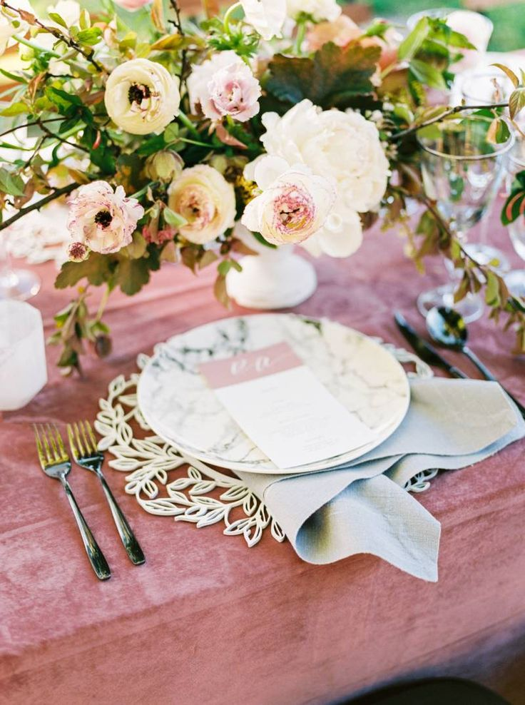 La Tavola Fine Linen Rental: Velvet Blush with Tuscany Natural Napkins | Photography: Olivia Richards Photography, Event Planning & Design: Bari Elexa Events, Florals: Aubriana Kasper, Stationery & Calligraphy: Brown Fox Calligraphy, Venue: California Ranch Events, Tabletop Rentals: Hensley Event Resources, Chargers: Blushtype, Furniture: Seventh Heaven Vintage Rentals