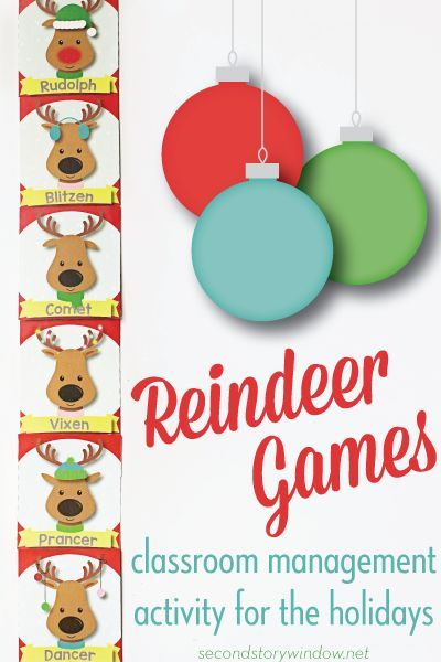 "Students earn ""reindeer game"" activities with good behavior! Free classroom management idea for December."