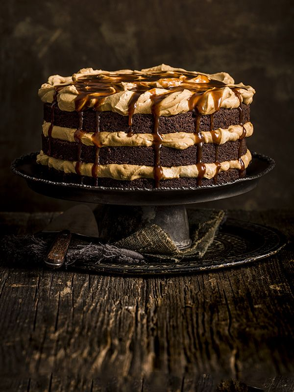 Chocolate and burnt butterscotch layer cake - This deliciously indulgent, grown-up chocolate and burnt butterscotch cake looks really impressive and is definitely worth the effort