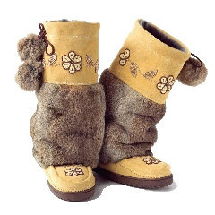 mukluks,  rabbit fur and cowhide suede