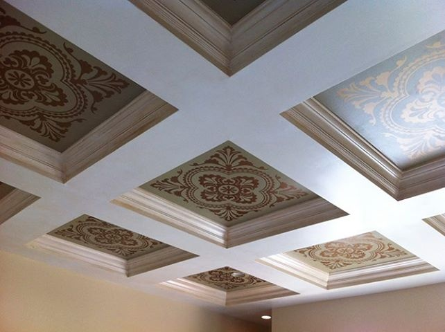 1000 images about stenciled and painted ceilings on for Coffered ceiling paint ideas