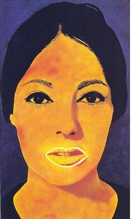 Martial Raysse, Peinture à haute tension, 1965  huile et peinture fluorescente, construction-collage, 162,5 x 97,5 cm
