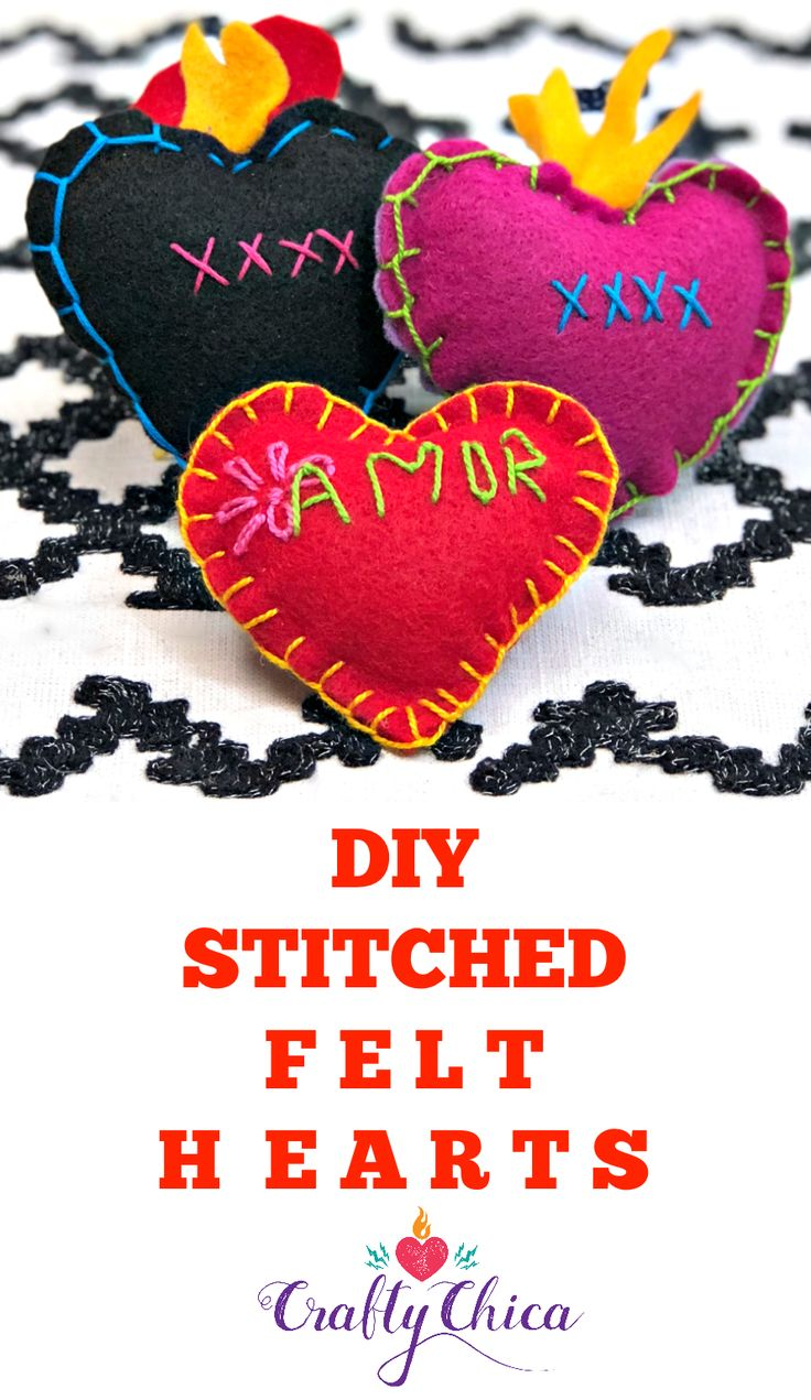 Stitched Felt Hearts - Crafty Chica™