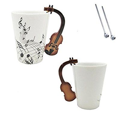 Love Music Violin Notes Printed Novelty Mugs Cups Holds Tea Coffee Milk Ceramic Bone China Mug With Handgrip Best Christmas Gift With Gift Box And Reusable Straws
