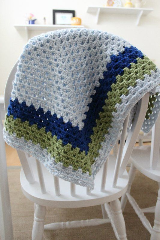 Color Block Granny Square Crochet Baby Afghan For Boy By