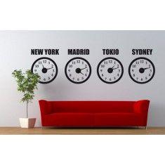 relojes de pared mundiales. Originales y prácticos para controlar el horario en otros paises. En este caso podremos saber la hora de Nueva York, Madrid, Tokio y Sydney.