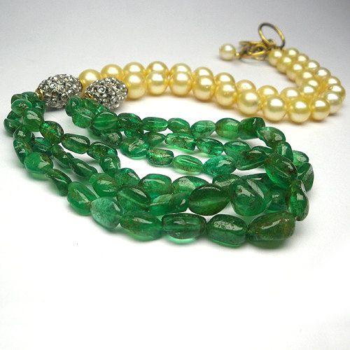 Emerald Necklace Rosecut Diamond Necklace South by JewelryBYJuhi