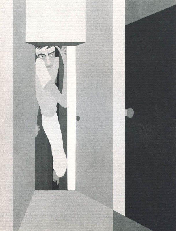 03 Claustrophobia John Vassos 609x800 Les phobies illustrées de John Vassos Photos of people trapped and squashed behind doors.