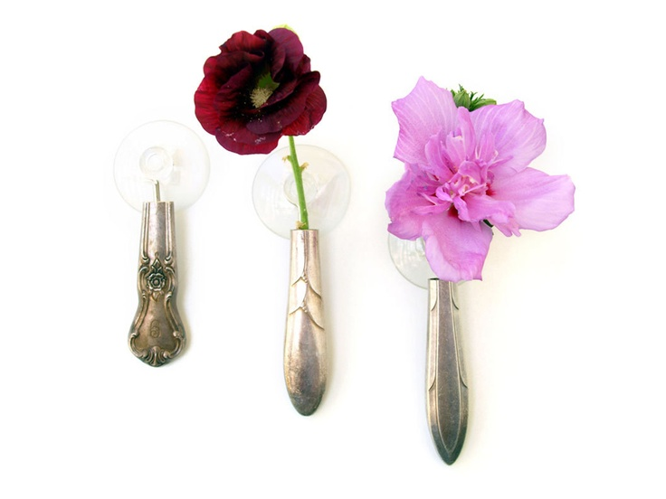 Bud Vases made from hollowed silverware handles!: Buds Vases M, Cups, Basilicusjon Sets, Vases Sets, Decoration, Silver Pl Buds, Buttons, Minis Vases, Silverpl