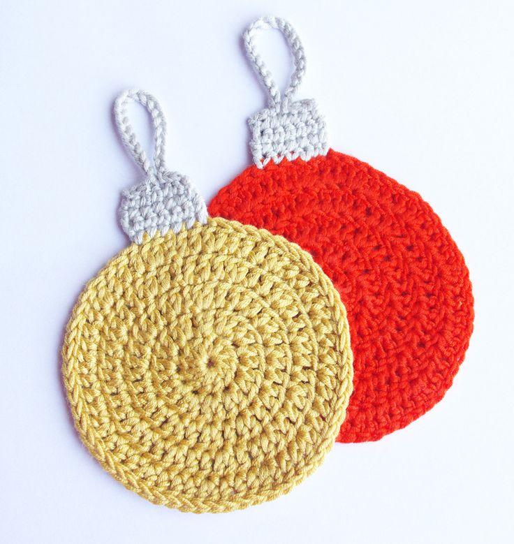 dessous de verre boule de noël, lot de 2 sous verre, orange ocre, crochet : Décoration de table par cocoflower