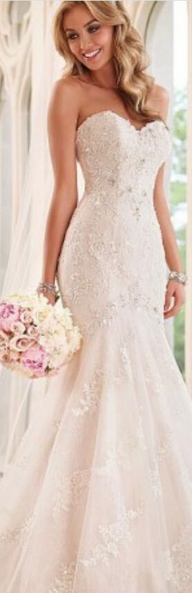 Elegant Tulle Organza Sweetheart Neckline Natural Waistline Mermaid Wedding Dress With Beaded Lace Appliques #weddingdress
