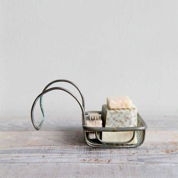 Antique Brass Sponge Holder - Soap Holder || I remember one exactly like this hanging on the claw foot tub at my grandmother's house.