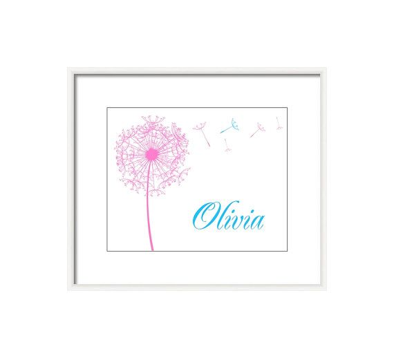 Printable Nursery Art- Baby girl decor- Personalized Art- Baby Name Art- digital pdf file,pink and blue decor,  Pink Dandelion on Etsy, $12.00