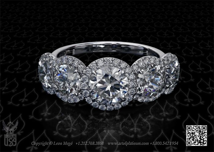 Custom Made Five Stone Engagement Ring Featuring 1 09