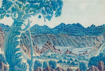 OTTO PAREROULTJA ex Sotheby's watercolour painting 1955  Artist: Pareroultja, Otto  Artwork title: CENTRAL AUSTRALIAN LANDSCAPE AT DUSK (1955)