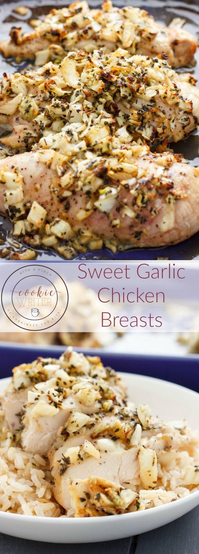 Sweet Garlic Chicken Breasts | http://thecookiewriter.com | @thecookiewriter | #chicken