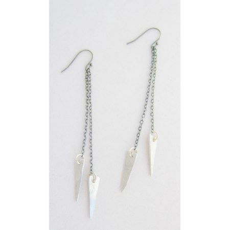 Lightweight Aluminum Dangle Point Earrings - click/tap to personalize and buy