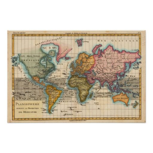 <h2>World Map -- the Planisphere</h2>  A highly colorful world map from the 1700s, this world map print is from an authentic map originally published in 1780. It shows the world in vibrant full color. The world map continents are quite well rendered for being drawn 250 years ago. This beautiful world map's illustrator drew North America in green. Central and South America are in a bright yellow, Africa is a dark green, Europe and Australia in orange, and Asia and Greenland in pink…