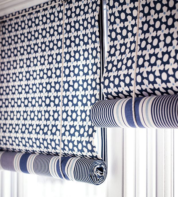 Swedish blue and white nautical blinds. Photo Cath Gradwicke
