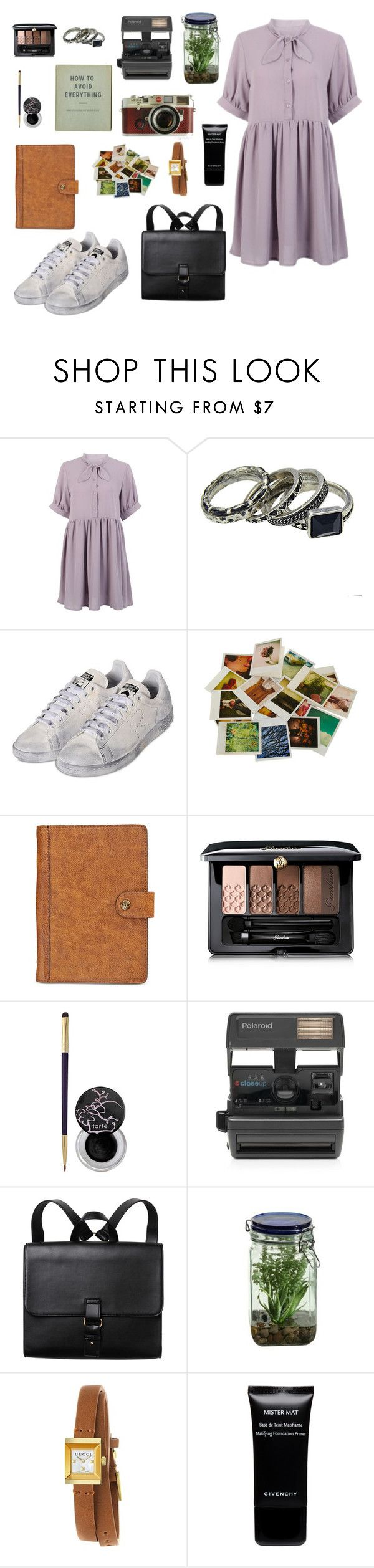 """""""nancy wheeler insp."""" by smileswithstyle ❤ liked on Polyvore featuring adidas, Chronicle Books, Leica, Patricia Nash, Guerlain, tarte, Impossible, Monki, Alöe and Gucci"""