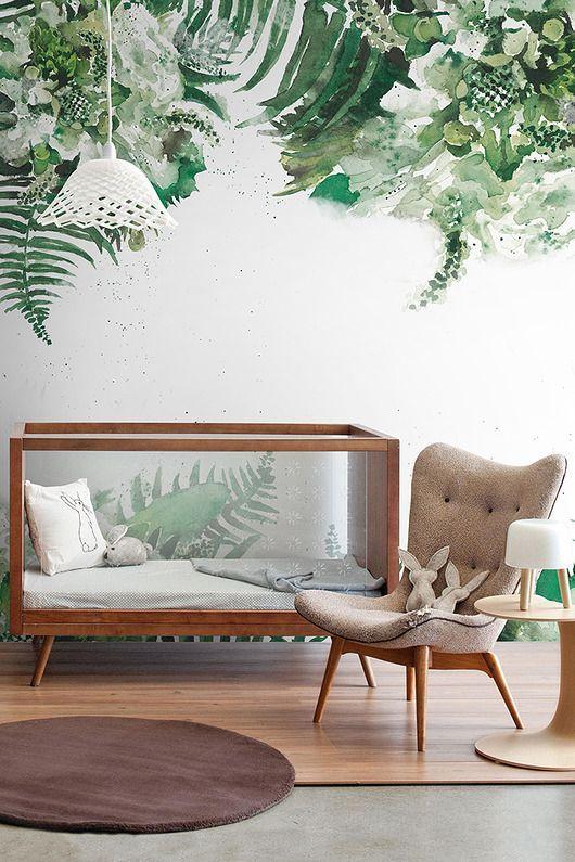 Inspiración de estilo tropical para las habitaciones de bebés. Fotografías de cuartos de bebés decorados con aire tropical.