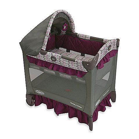 For parents who want to keep their sleeping infant close by, this Graco Travel Lite Crib is the perfect spot. It's 20% smaller than traditional playpens and features a removable full bassinet with quilted side panels and a canopy with soft toys.